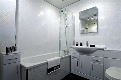 White Wall Panels Bathroom by White Sparkle Bathroom Cladding Shop