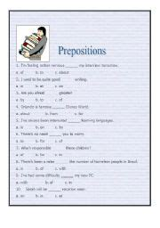 printable preposition quiz english teaching worksheets quizzes