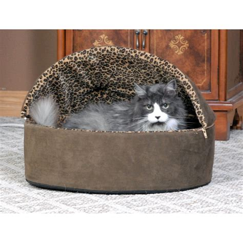 heated cat beds k h mocha leopard thermo kitty bed deluxe heated cat bed