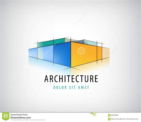 home design 3d logo vector abstract 3d architecture sign building plan logo