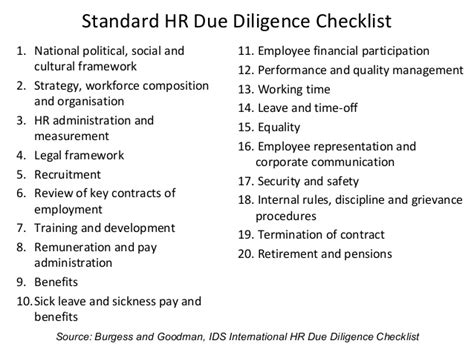 hr due diligence report template hr due diligence