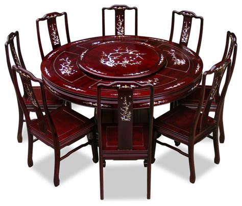 "60"" Rosewood Pearl Inlay Design Round Dining Table With 8 Chairs Asian Dining Sets by"