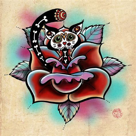 cat rose tattoo 100 best skulls and days of the dead images on