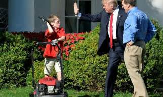 great job trump tells  year  boy mowing white