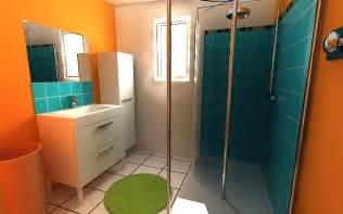 indogate salle de bain marron et turquoise