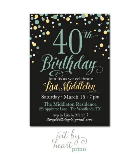 40th birthday card template 40 birthday invitation template orderecigsjuice info