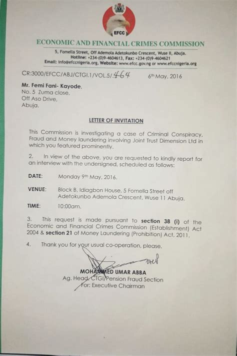 Invitation Letter Nigeria Criminal Conspiracy Efcc Invites Fani Kayode See Attached Letter Skytrendnews Nigeria