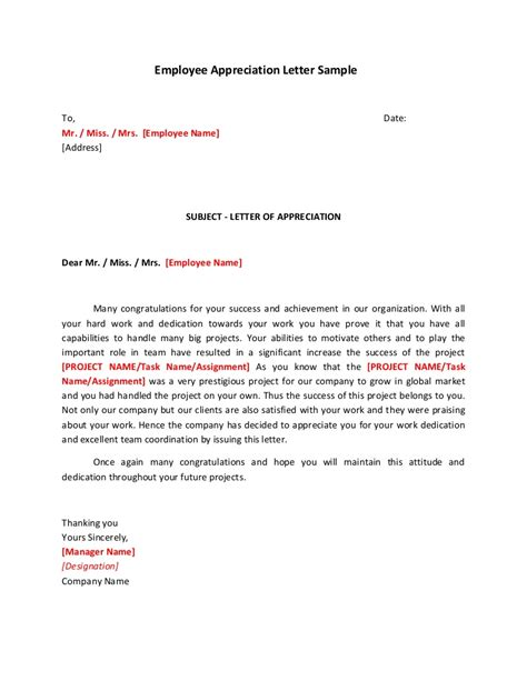 Employee Appreciation Letter Sle