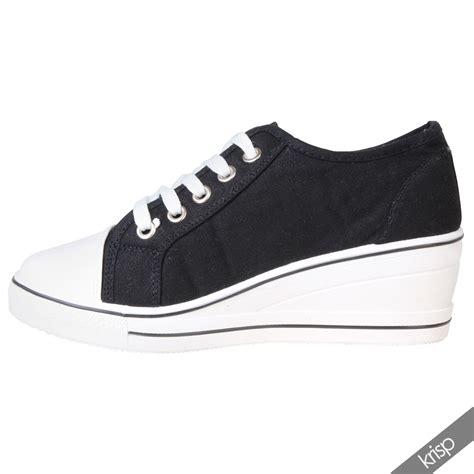 womens gem canvas high heel wedge trainers sneakers low