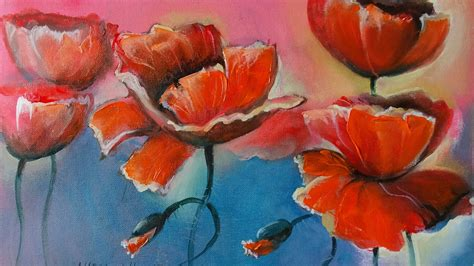 dipingere fiori ad olio come disegnare papaveri ad olio how to paint a poppy with
