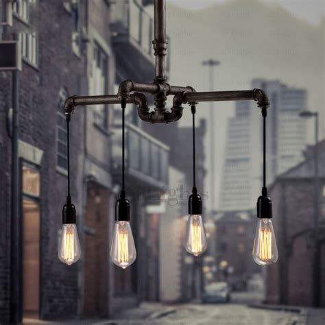 vintage 4 light retro water pipe shaped industrial lighting