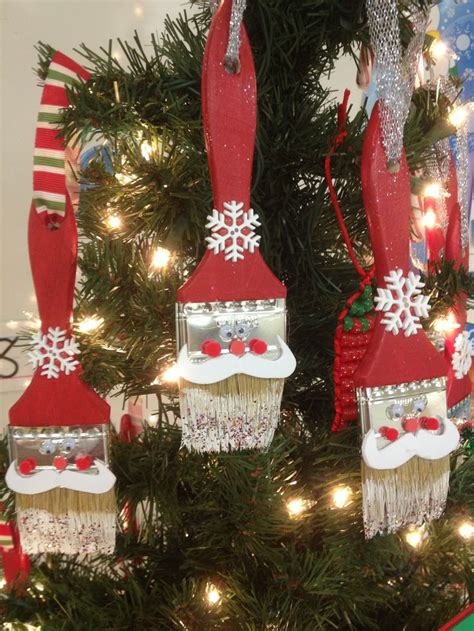 santa claus paintbrush ornament crafty pinterest