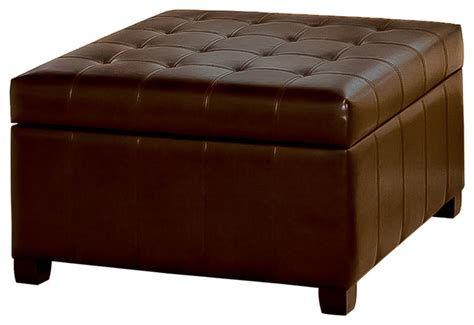 Leather Coffee Table Storage Lyncorn Leather Storage Ottoman Coffee Table Contemporary Footstools And Ottomans By Great