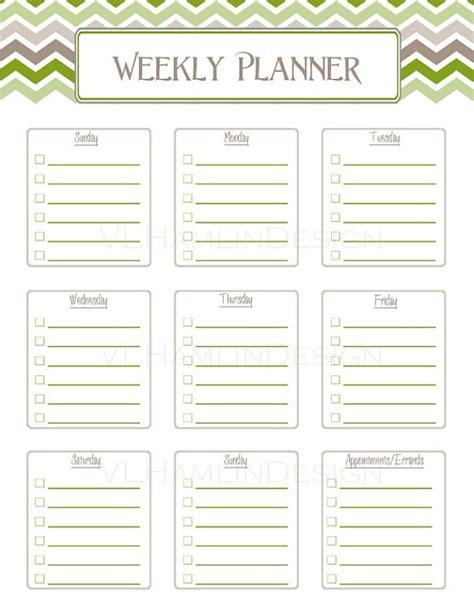 printable planner organizer instant download printable weekly schedule planner