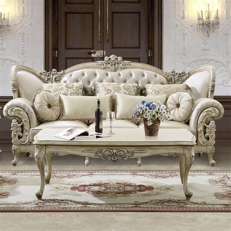 formal living room furniture sets classic creamy vinyl tufted seater with wooden table over