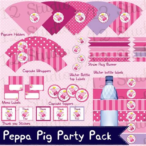 printable peppa pig party decorations fairy peppa pig party pack decorations downloadable