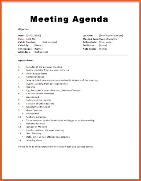 meeting schedule template 7 agenda formats bookletemplate org