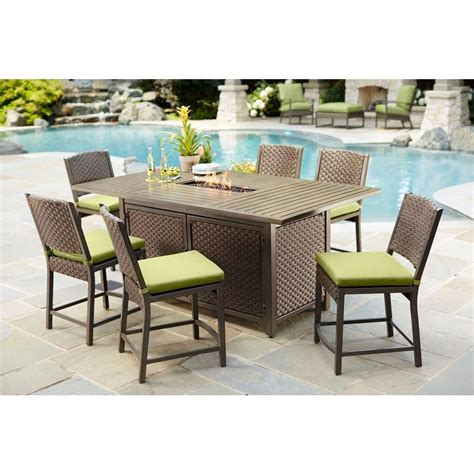 Hton Bay Carol Stream 7 Piece Balcony High Patio Dining High Patio Dining Set