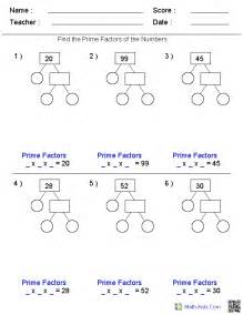 factors worksheets printable factors and multiples