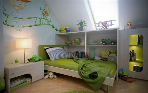 attic spaces green white boys room wall mural interior