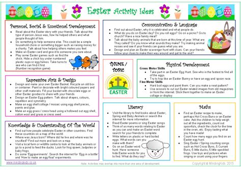 easter activity ideas sheet mindingkids