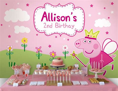 printable peppa pig party decorations fairy peppa pig personalised printable backdrop by