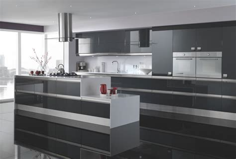 Glossy Cabinets by Glossy Grey Modern Kitchen Grey Modern Kitchen