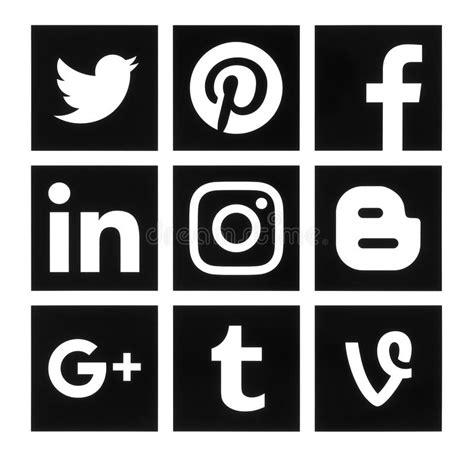 colecci 243 n de logos de redes sociales populares impresas en colecci 243 n de medios logotipos sociales negros cuadrados
