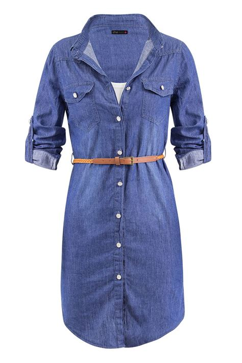 womens denim shirt belt dress uk 8 to 16 ebay