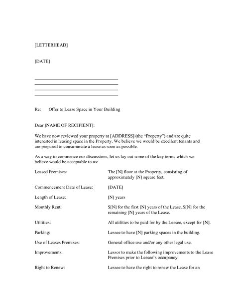 Letter Of Offer For Lease Best Photos Of Template Of Property Buying Letter Of Intent To Purchase Form Real