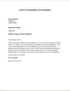 letter termination employee resignation letter