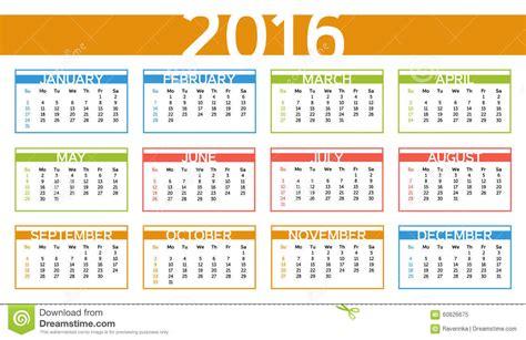 Calendario U Mayor 2016 Colorful Year Calendar In Language Stock