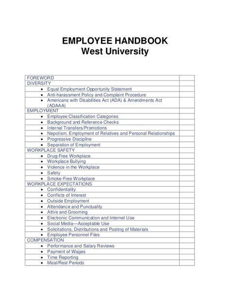West University Kansas City New Employee Manuel Anti Harassment Policy Template