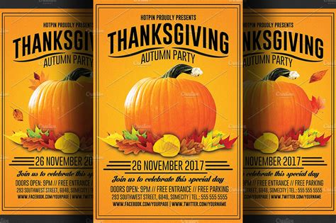 Thanksgiving Flyer Template Flyer Templates Creative Market Thanksgiving Flyer Template Free