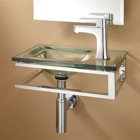 Glass Bathroom Sink Bangor Wall Mount Glass Sink