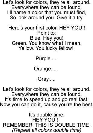 color song lyrics colors song for teaching children to identify colors