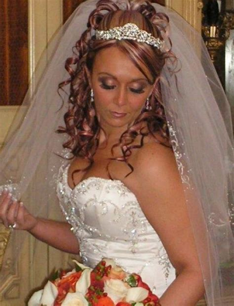 Wedding Hair Up With Veil And Tiara by Curly Wedding Hairstyles With Tiara And Veil Wedding