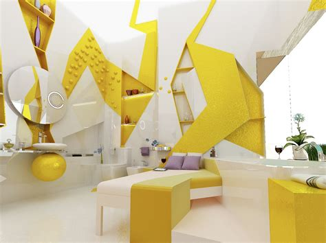 yellow decor cubism in interior design