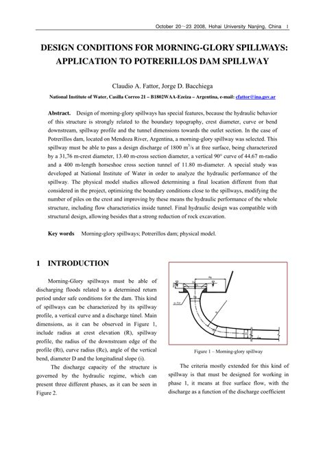 design application publication design conditions for morning glory spillways application
