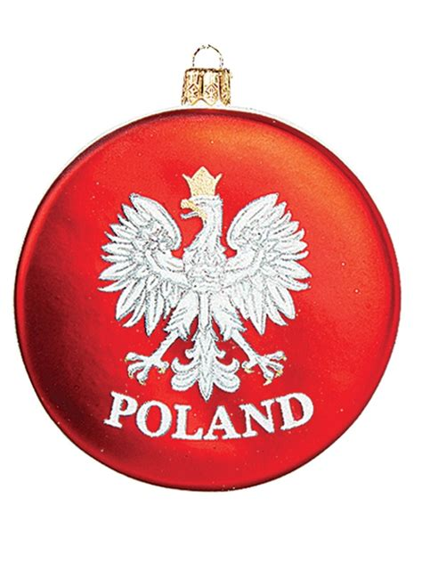 poland disk with eagle polish mouth blown glass christmas