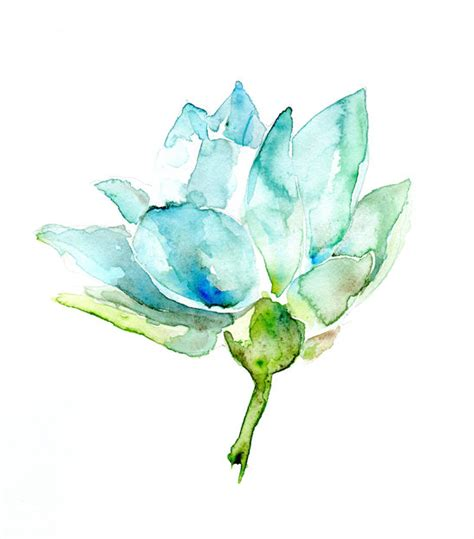 Home Decor Turquoise And Brown by Original Lotus Watercolor Painting Lotus Fower Zen Art Blue