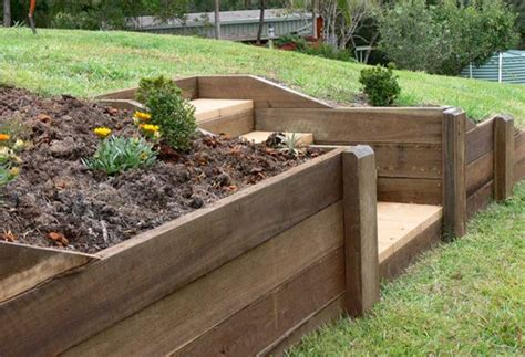 Wooden Retaining Wall Steps Retaining Walls Decks Wood Garden Wall