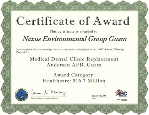 Award Letter En Espanol Nexus Environmental