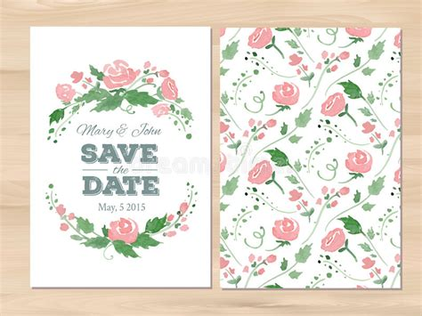 illustrator invitation card template vector wedding invitation with watercolor flowers stock