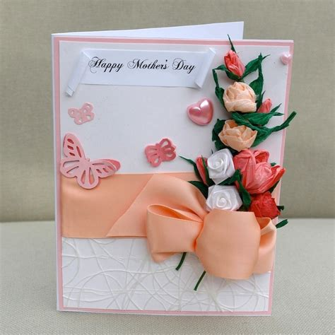 Mother s day card handmade paper flowers handcrafted paper