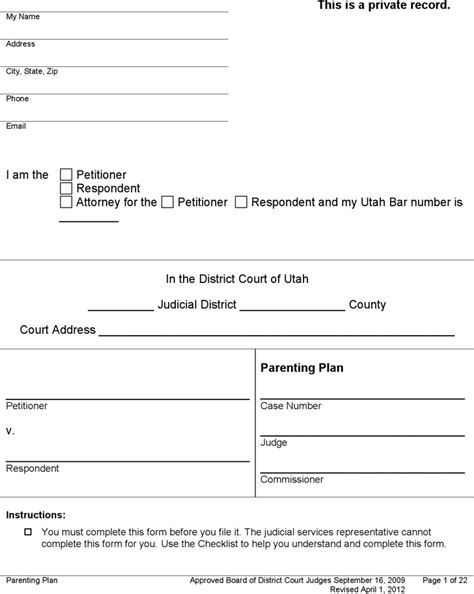 Free Utah Parenting Plan Form Pdf 117kb 22 Page S Mediation Checklist Template