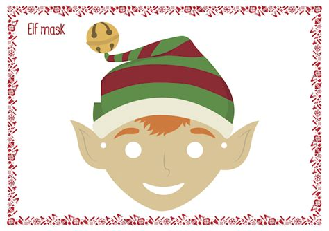 printable elf mask christmas coloring pages