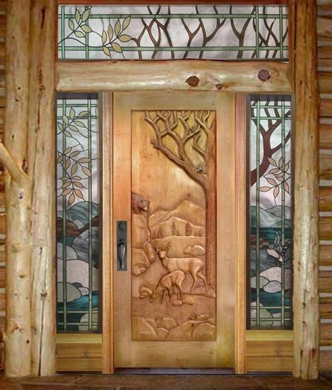 Handmade Door - handmade custom carved deer door by ramsey studios