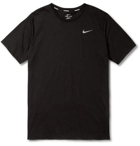 Black Shirt lyst nike drifit running tshirt in black for