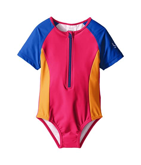 speedo one piece swimsuit kids speedo kids short sleeve zip one piece swimsuit infant